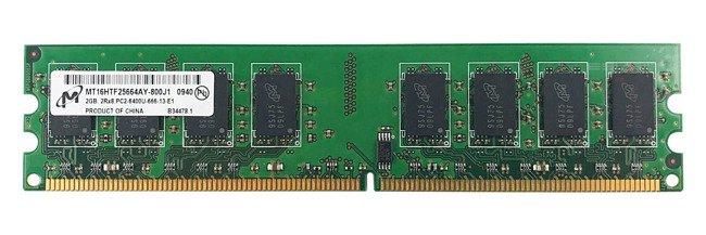 Memory RAM 1x 2GB Micron NON-ECC UNBUFFERED DDR2 800MHz PC2-6400 UDIMM | MT16HTF25664AY-800