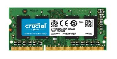 Memory RAM 1x 4GB Crucial SO-DIMM DDR3 1600MHz PC3-12800 | CT51264BF160BJ